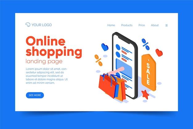 Tema della pagina di destinazione dello shopping online ismoetrico