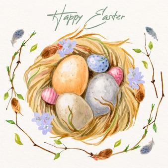 Tema della raccolta dell'uovo di giorno di pasqua dell'acquerello