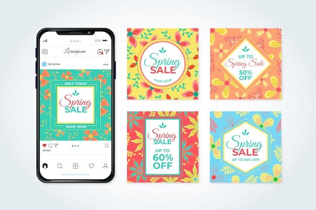 Tema della raccolta della posta di instagram di vendita della primavera