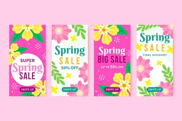 Tema della raccolta della storia di instagram di vendita della primavera