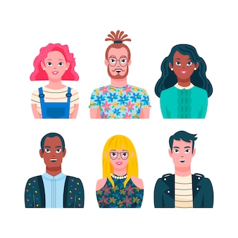 Tema di avatar di persone illustrate