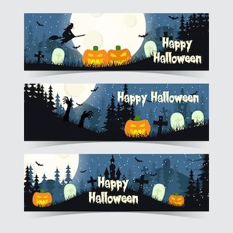 Tema di banner di notte felice di halloween
