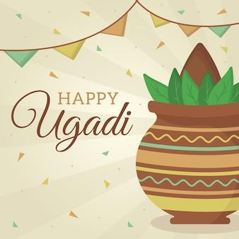 Tema di festival ugadi felice design piatto