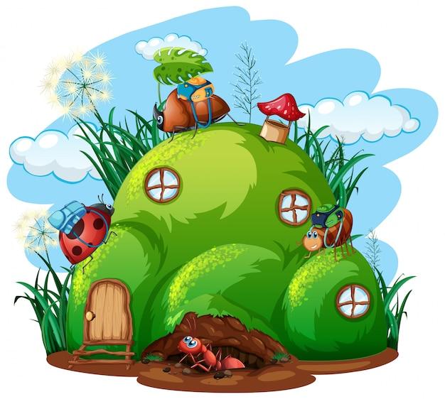 Tema di giardinaggio con insetti nella loro casa