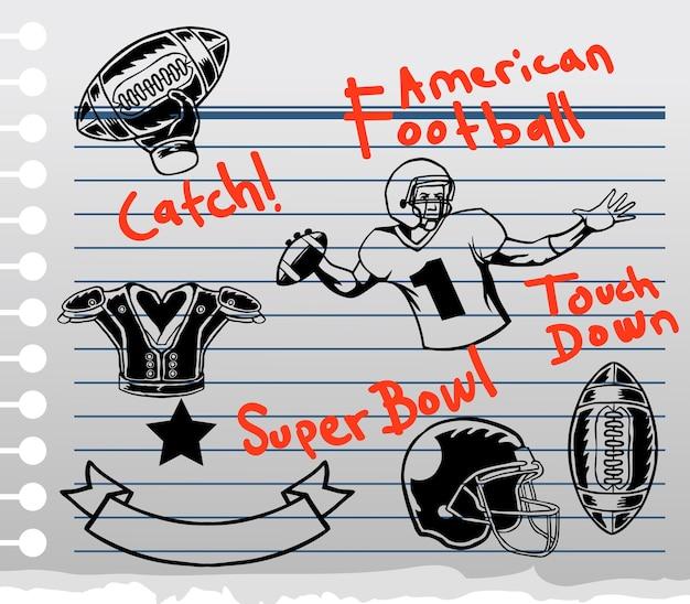 Tema di gioco del football americano su carta