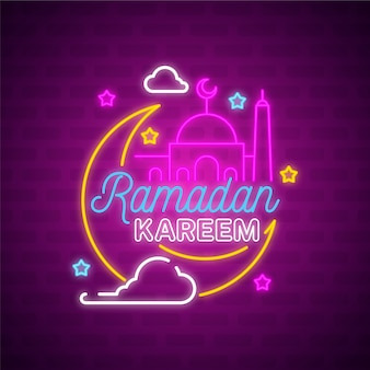 Tema di insegna al neon lettering ramadan