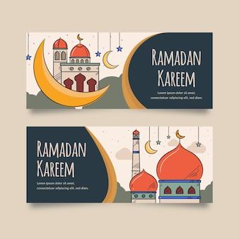 Tema di modello di banner ramadan disegnati a mano