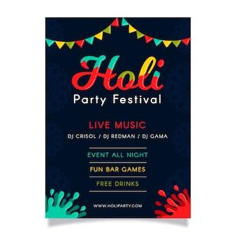 Tema di modello di design piatto holi festival flyer