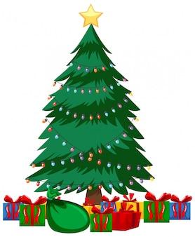 Tema di natale con molti regali sotto l'albero di natale