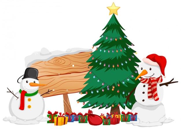 Tema di natale con pupazzo di neve e albero di natale