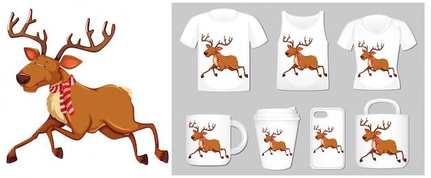 Tema di natale con renne su modelli di prodotti