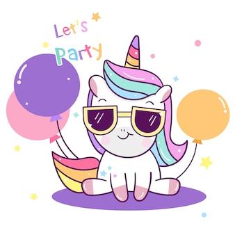 Tema di partito di vettore e palloncino di unicorno carino