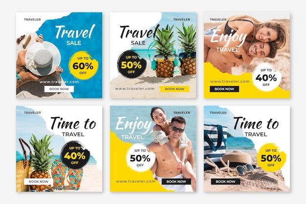 Tema di post di instagram di vendita di viaggio