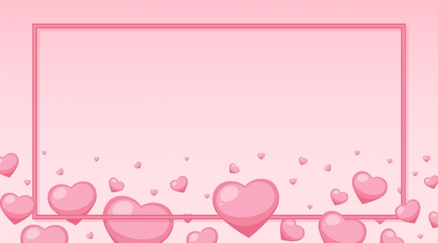 Tema di san valentino con cuori rosa intorno alla cornice