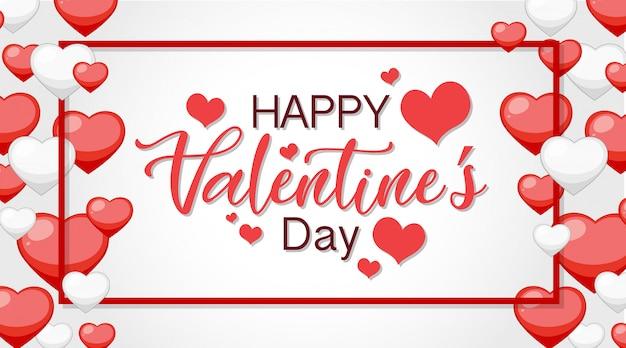 Tema di san valentino con cuori rossi e bianchi