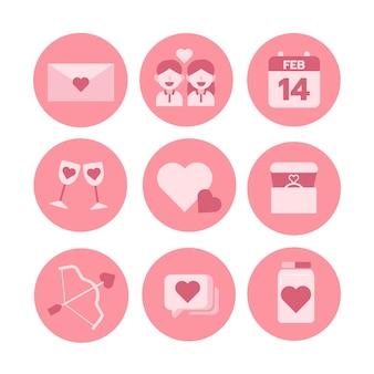 Tema di san valentino, set di icone monocromatiche. illustratore vettoriale