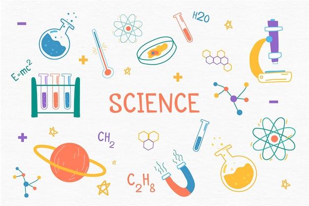 Tema di scienza sfondo disegnato a mano