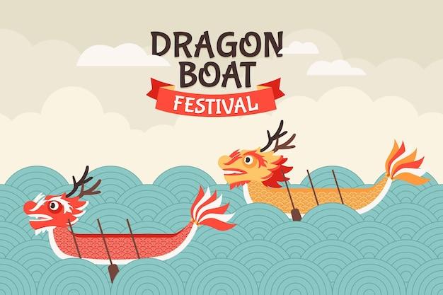 Tema di sfondo della barca del drago