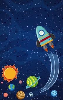 Tema di sfondo dello spazio con il razzo che vola di notte