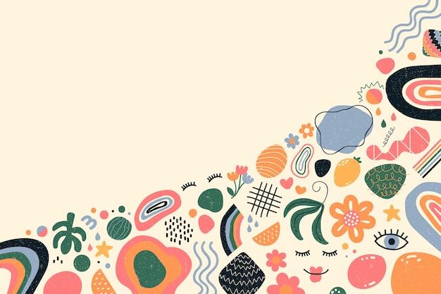 Tema di sfondo di forme organiche astratte disegnate a mano