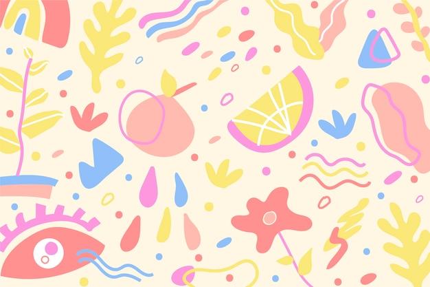 Tema di sfondo di forme organiche disegnate a mano