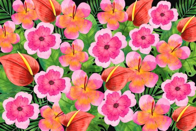 Tema di sfondo floreale dell'acquerello