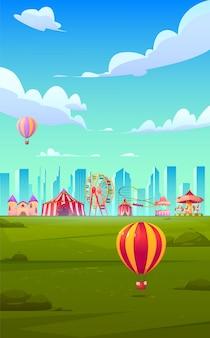 Tema di sfondo per smartphone con luna park di carnevale