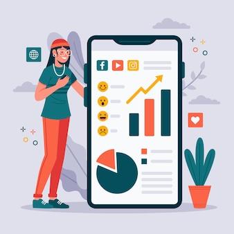 Tema di social media marketing sul telefono
