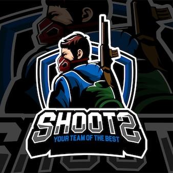 Tema di sparatutto con badge logo di gioco di esports