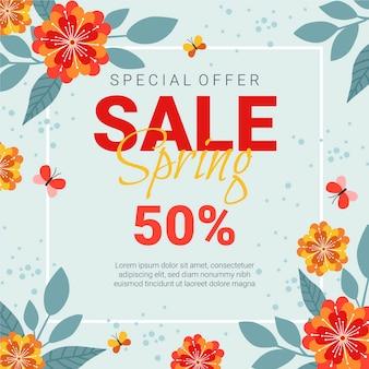 Tema di vendita di primavera stagionale design piatto