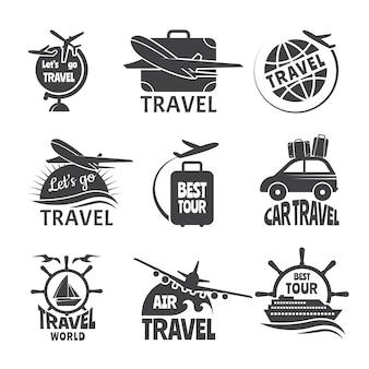 Tema di viaggio forma etichetta vettoriale o loghi. immagini monocromatiche di aeroplani