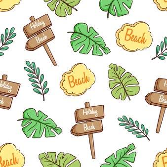 Tema disegnato a mano estate o vacanze con foglie di mostera e cartello in seamless