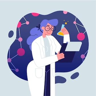 Tema femminile dell'illustrazione dello scienziato