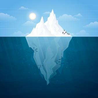 Tema illustrato di iceberg