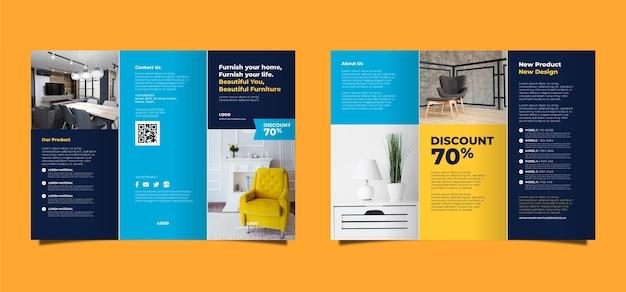 Tema modello di brochure a tre ante minimo