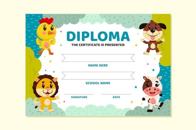 Tema modello di diploma per bambini