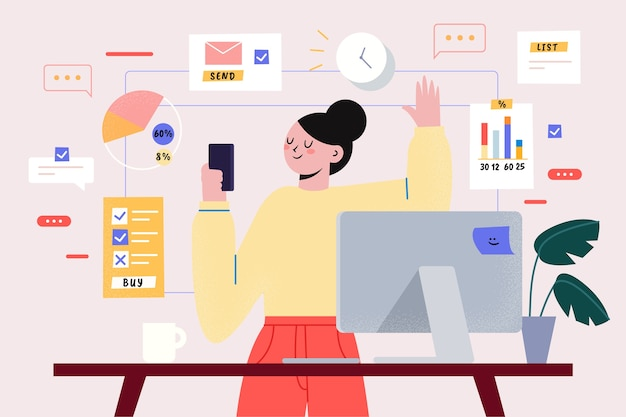 Tema multitasking per l'illustrazione