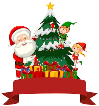 Tema natalizio con babbo natale ed elfo