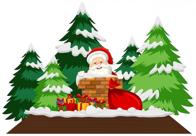 Tema natalizio con babbo natale sul tetto