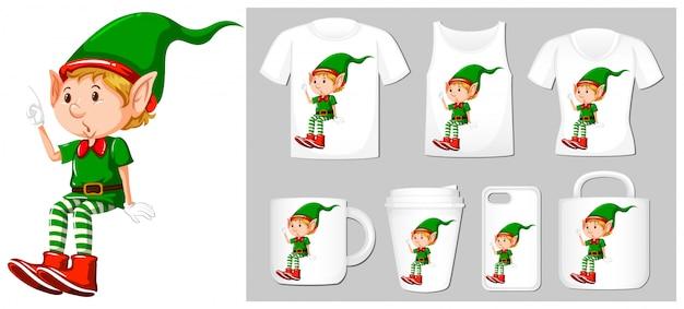 Tema natalizio con elfo su molti prodotti