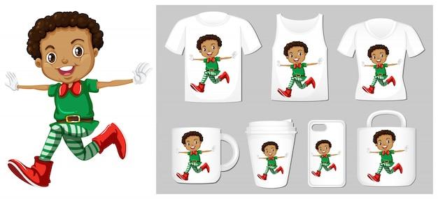 Tema natalizio con elfo sui modelli di prodotto