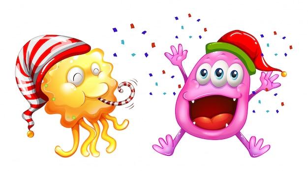 Tema natalizio con mostri che celebrano