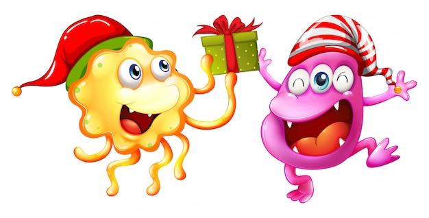 Tema natalizio con mostri e presente