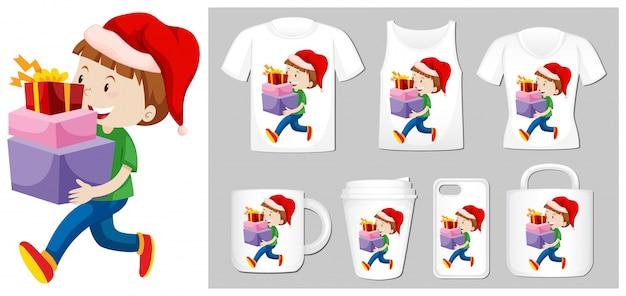 Tema natalizio con ragazzo e regali su molti prodotti