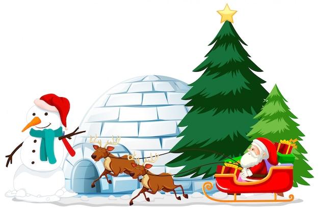 Tema natalizio santa e pupazzo di neve
