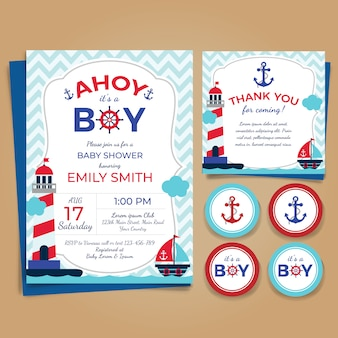 Tema nautico baby shower invito