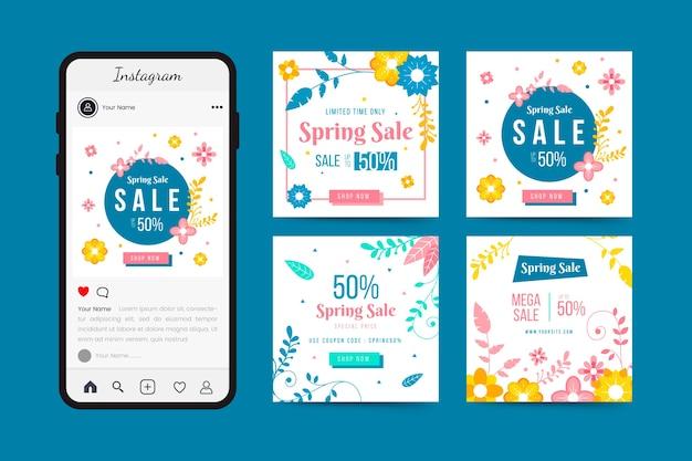 Tema post di instagram di vendita di primavera