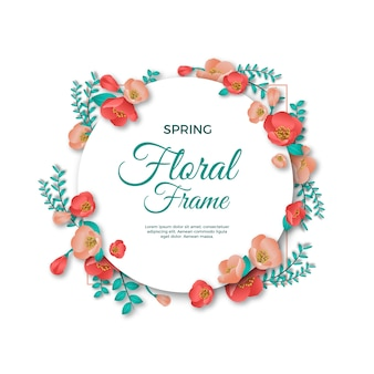 Tema realistico cornice floreale primaverile