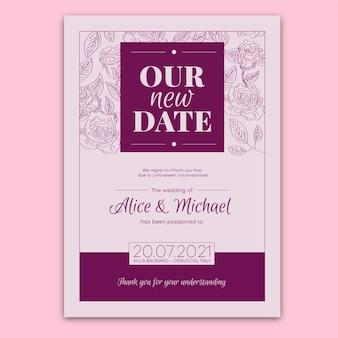 Tema tipografico del matrimonio posticipato
