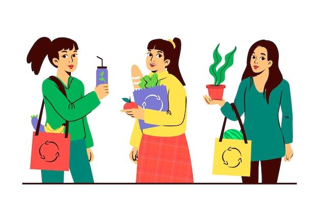 Tema verde dei caratteri di stile di vita per l'illustrazione